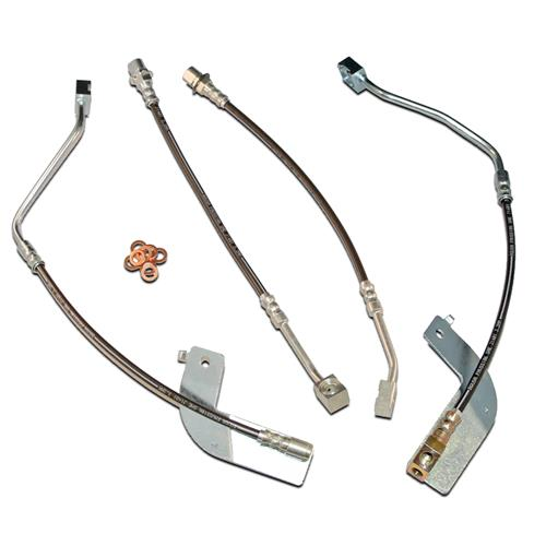 J&M Mustang Stainless Steel Brake Hose Kit  w/o Traction Control (99-04) 22553