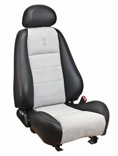 TMI Mustang Cobra Convertible Leather Seat Upholstery  with Medium Graphite Suede Inserts (03-04) 43-77523-L741-7042-COBRA