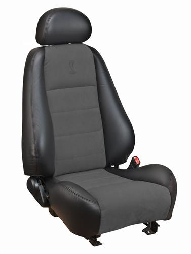 Mustang Cobra Coupe Leather Seat Upholstery with Dark Charcoal Suede Inserts (03-04) 43-76523-L741-99-COBRA