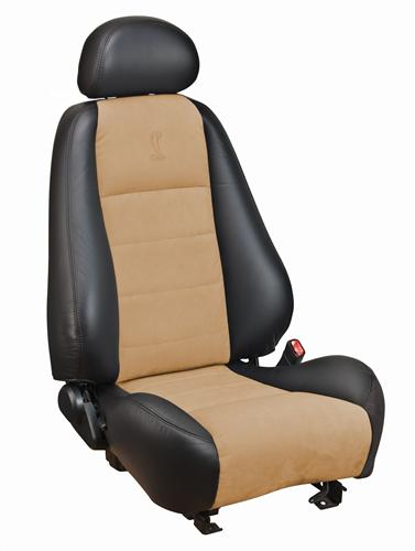 Mustang Cobra Coupe Leather Seat Upholstery with Parchment Suede Inserts (03-04) 43-76523-L741-7820-COBRA