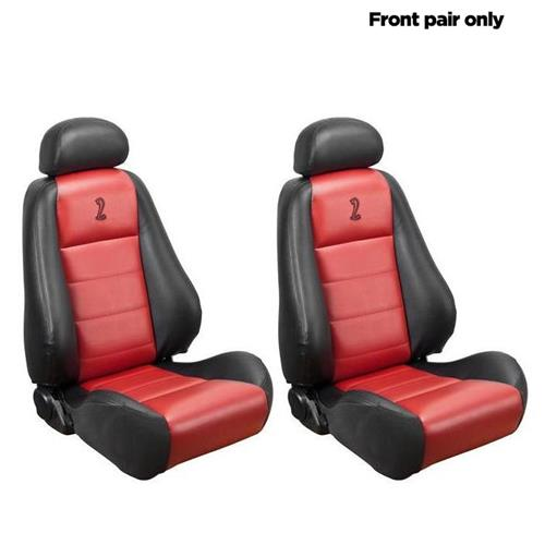 TMI Mustang 10th Anniversary Cobra Front Seat Upholstery  - Vinyl - Red Inserts (03-04) 43-76503-6042-7300-A