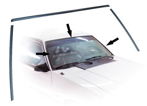 Mustang Front Windshield Molding Kit Black (79-93) Coupe/Hatchback E7ZZ-6103144