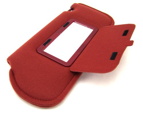 TMI Mustang Sun Visors with Vanity Mirror Canyon Red Cloth (85-86) 21-73005-1805