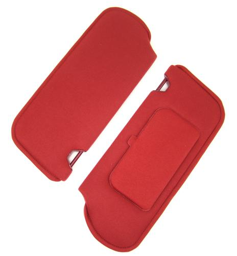 TMI Mustang Sun Visors with Vanity Mirror Scarlet Red Cloth (87-92) 21-73005-1872