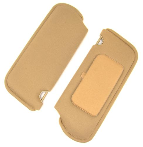 TMI Mustang Sun Visors with Vanity Mirror Desert Tan/Sand Beige Cloth (85-89) 21-73005-1817