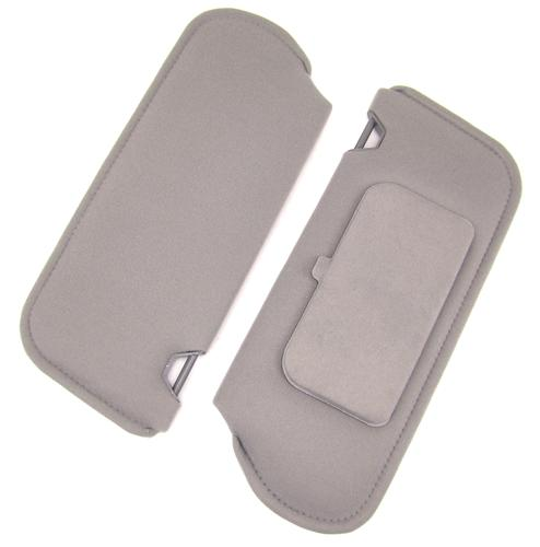 TMI Mustang Sun Visors with Vanity Mirror Light Gray Cloth (85-86) 21-73005-1808