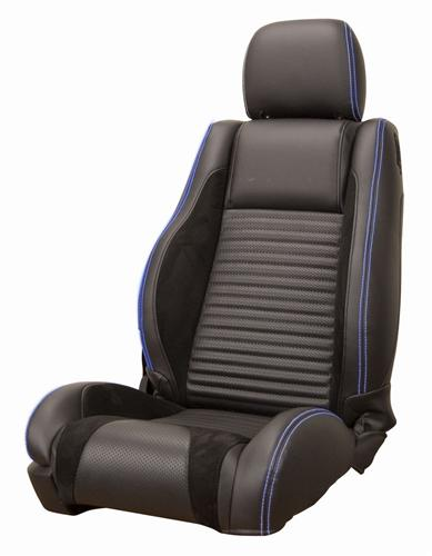 Mustang Sport R Upholstery Black/ Blue Stitching Leather (05-07) GT-V6 Convertible LRS-0507CVBBLR