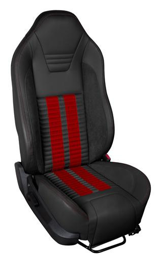 TMI Mustang Sport R500 Upholstery Kit BLK/RED for Side Airbag Equip'd Cars (05-10) Coupe