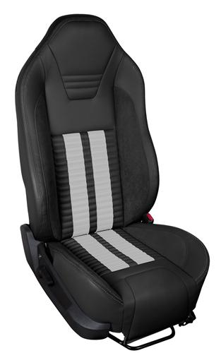 TMI Mustang Sport R500 Upholstery Kit BLK/WHT for Side Airbag Equip'd Cars (05-10) Coupe