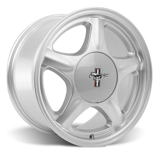 Mustang 5 Lug Pony Wheel & Ford Licensed Center Cap - 17x8 Silver (79-93)