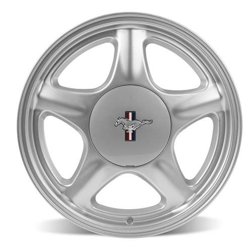 Mustang Pony Wheel & Ford Licensed Center Cap Kit - 17x9 Silver (79-93)