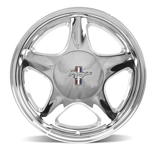 Mustang 5 Lug Pony Wheel & Ford Licensed Center Cap  - 17x10 - Chrome (79-93)