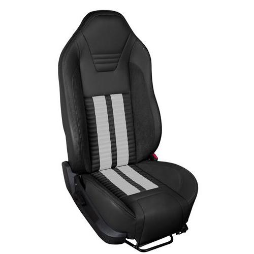 TMI Mustang Sport R500 Upholstery Kit Black W/ Black Unisuede & White Stripes (11-12) Coupe