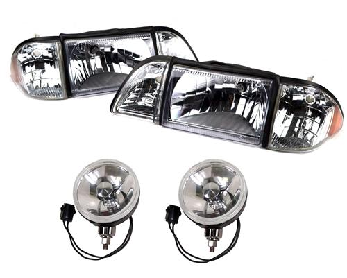 SVE Mustang Ultra Clear Headlight & Fog Light Resto Kit (87-93) GT