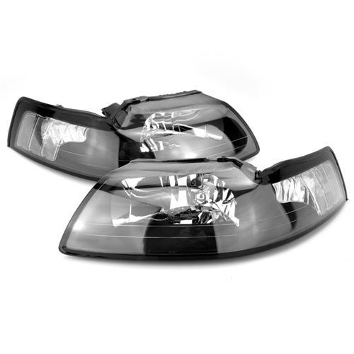 Mustang Black Headlight & Clear Fog Light Kit (99-04)
