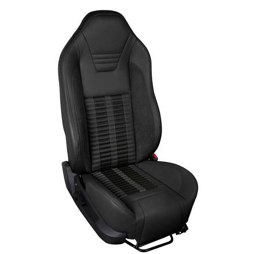 TMI Mustang Sport R500 Upholstery Kit Black W/ Black Unisuede & Stripes (13-14) Coupe