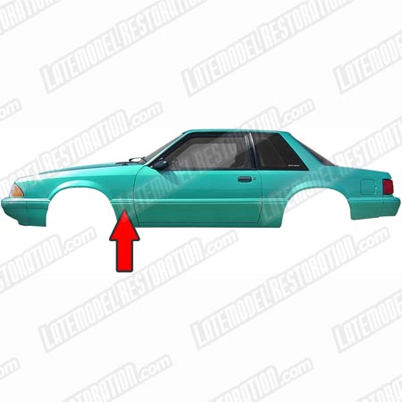 Mustang Left Hand Rear Of Fender Molding (87-93) LX