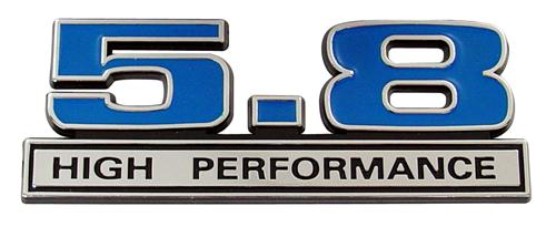 Mustang 5.8L High Performance Emblem Blue  (79-95)