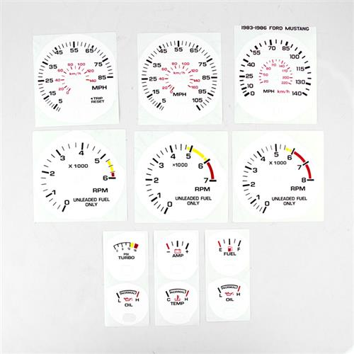 Mustang White Face Gauge Kit (83-86)