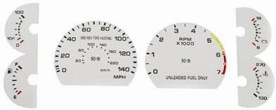 1990-93 Mustang 5.0 White Face Gauge Kit for 140 Speedo