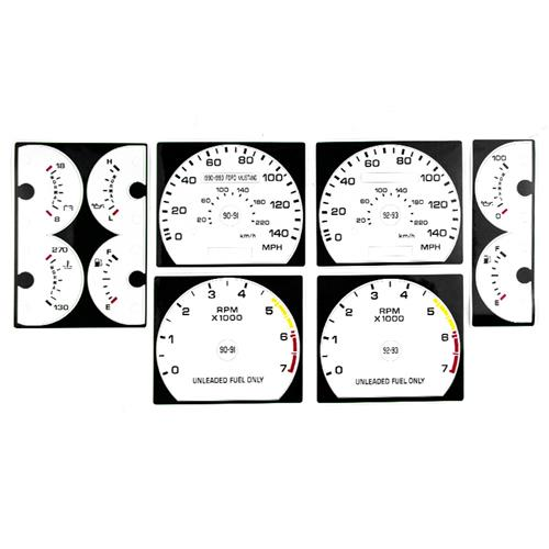 Mustang White Face Gauge Kit for 140 Speedo (90-93) 5.0