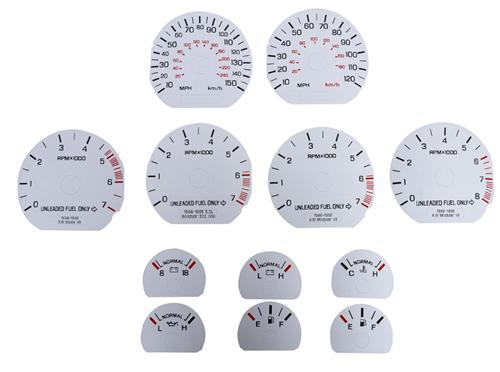 Mustang White Face Gauge Kit (94-98) GT/V6