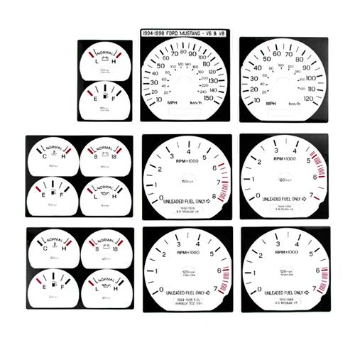 Mustang White Face Gauge Kit (94-98) GT V6 - Mustang White Face Gauge Kit (94-98) GT V6