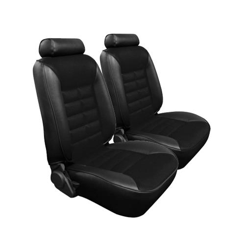 TMI Mustang Seat Upholstery Black Cloth/Vinyl (1982) GL Hatchback Low Back - TMI Mustang Seat Upholstery Black Cloth/Vinyl (1982) GL Hatchback Low Back