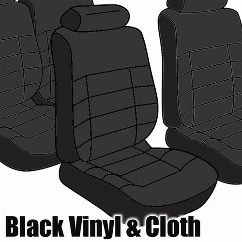 TMI Mustang Seat Upholstery, Standard Low Back Black Cloth (1983) Coupe
