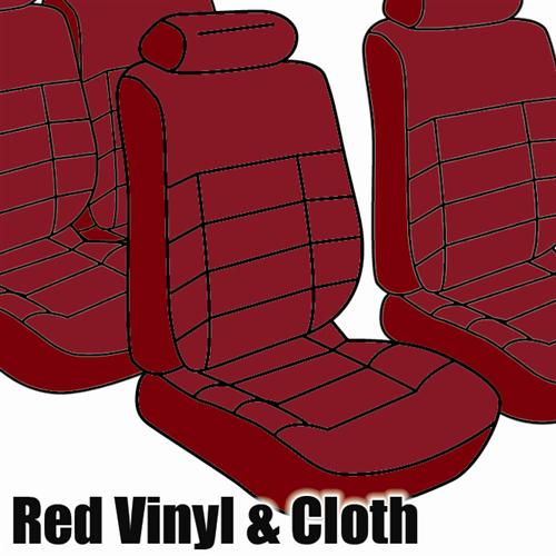 TMI Mustang Seat Upholstery Medium Red Cloth (1983) GLX Hatchback Low