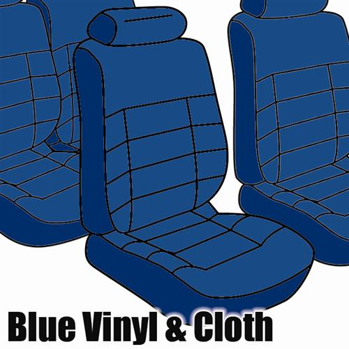 TMI Mustang Seat Upholstery Academy Blue Cloth (1983) GLX Hatchback Low