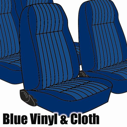 TMI Mustang Seat Upholstery Academy Blue Cloth (1984) L Hatchback