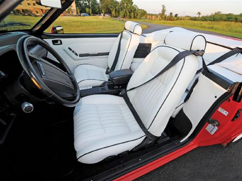 TMI Mustang Sport Seat Upholstery White Leather (1992) Special Edition LX Convertible 43-74621-L965-958W