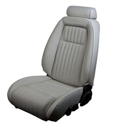 TMI Mustang Sport Seat Upholstery Titanium Gray Leather (1992) Hatchback 43-75621-L972