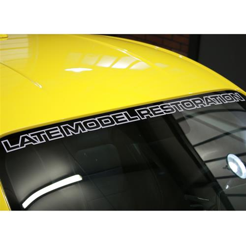 Mustang Latemodelrestoration.com Windshield Banner  Silver (15-16)