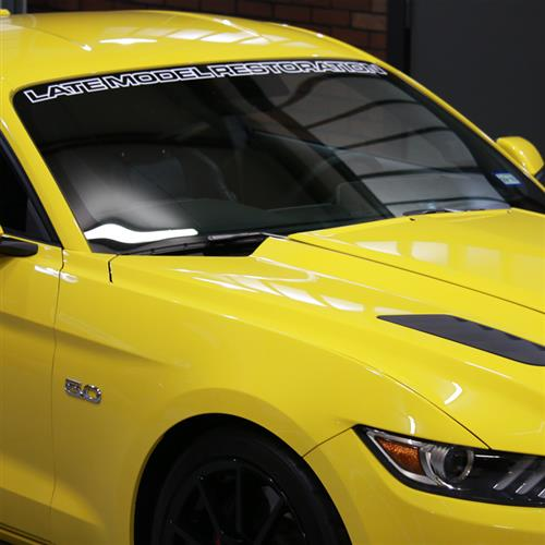 Mustang Latemodelrestoration.com Windshield Banner  White (15-16)