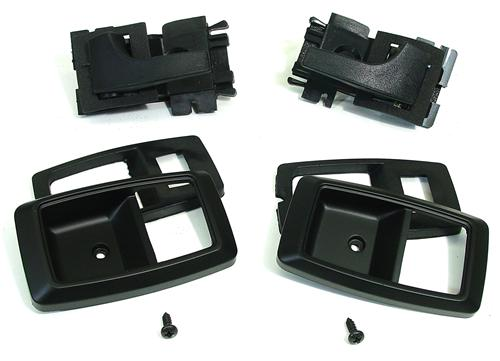 Mustang Deluxe Inner Door Handle & Bezel Kit Black (79-93)