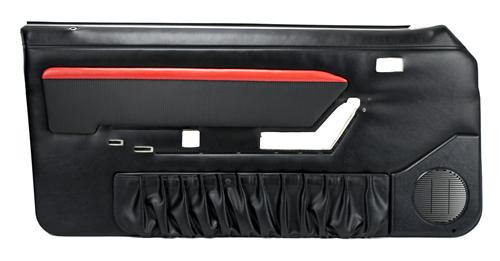 Mustang Mach 1 Style Door Panels w/ Power Windows Black/Red (87-89) 10-73007-958-801-63S
