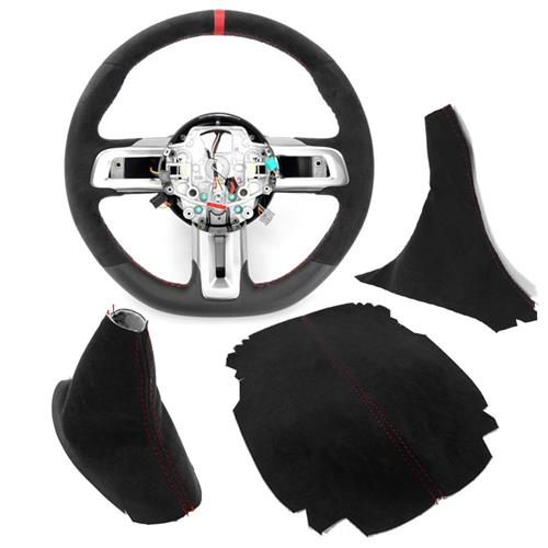 Mustang GT350R Interior Conversion Kit - Manual  - Black w/ Red Stitching (15-17)