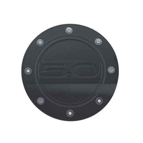 Mustang Comp Series Fuel Door w/ 5.0 Logo  - Matte Black  (15-17) FR3Z-6640526-5A