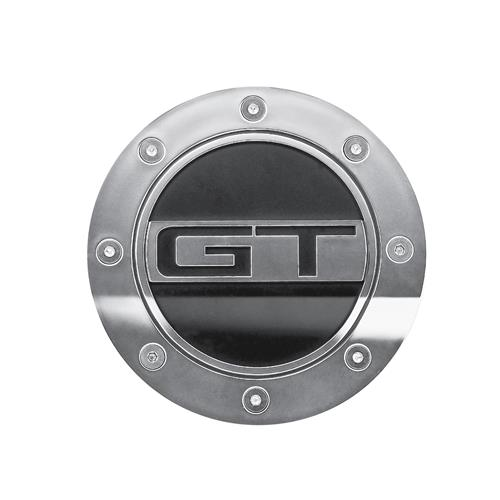 Mustang Comp Series Fuel Door w/ GT Logo  - Silver & Black (15-17) FR3Z-6640526-GS