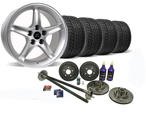 Mustang Silver Cobra R Wheel & Nitto Tire Kit  W/ Mustang 5 Lug Conversion Kit (87-93)