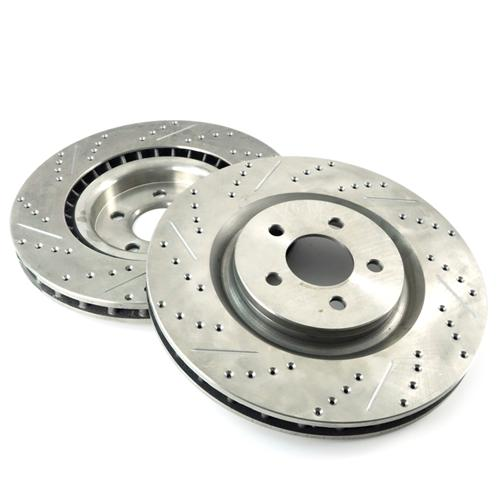 Mustang Drilled & Slotted Front Brake Rotors (07-14)