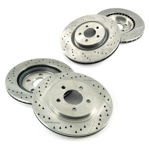 Mustang Drilled & Slotted Brake Rotor Kit  - Front & Rear (07-14)