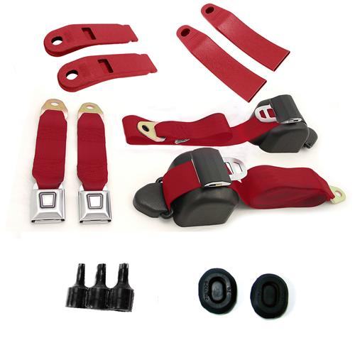 Mustang Front Seat Belt Kit Scarlet Red (79-89)