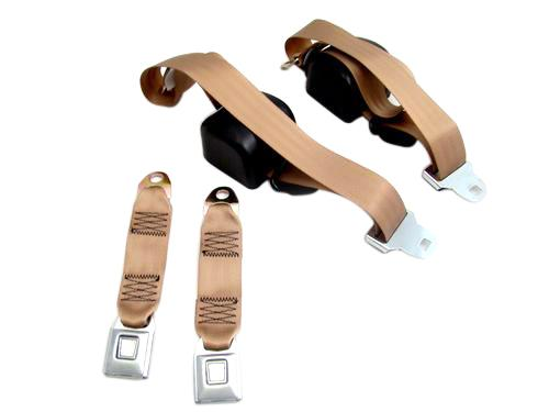 Picture of Mustang Front Seat Belt Set Sand Beige (84-89)