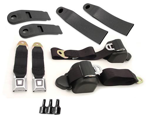 Mustang Front Seat Belt Kit Black (90-93)
