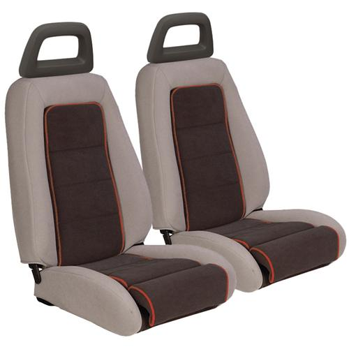 TMI Mustang GT Cloth Seat Upholstery Gray w/ Red Welt (85-86) GT Convertible 43-74624-561-613-57W