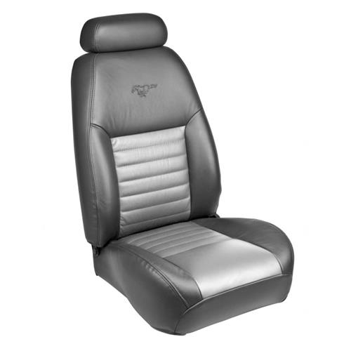 TMI Mustang 35th Anniversary Leather Front Seat Upholstery Kit  - Dark Charcoal/Silver (99-04) 43-76609-L741-L761-9Y