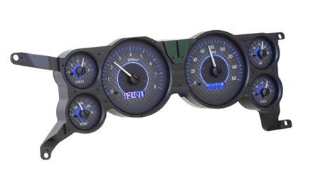 Mustang Digital Instrument Cluster Carbon Face/Blue Backlighting (79-86) - Picture of Mustang Digital Instrument Cluster Carbon Face/Blue Backlighting (79-86)